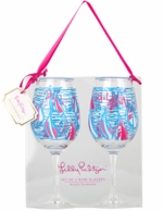 Lilly Pulitzer Acryluic Wine Glasses - Red Right Return