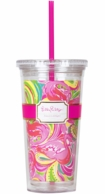 Lilly Pulitzer All Nighter Drink Tumbler with Straw