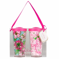 Lilly Pulitzer Big Flirt / Pink Colony Insulated Tumbler with Lids SET OF 2