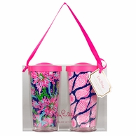 Lilly Pulitzer Cute As Shell / Sippin Navy Insulated Tumbler with Lids - SET OF 2