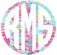Lilly Pulitzer Dirty Shirley Car Monogram Decal