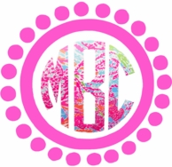 Lilly Pulitzer Dots Frame Monogram Car Decal
