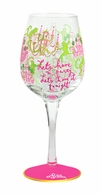 Lilly Pulitzer Hand Painted Monkey Trouble Print Wine Glass