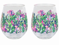 Lilly Pulitzer Hot Spot Stemless Acrylic Wine Glasses - SET OF 2