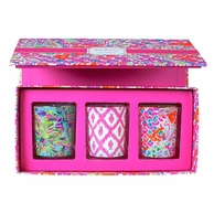 Lilly Pulitzer I'm So Hooked Votive Candle Boxed Set of 3
