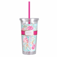 Lilly Pulitzer Jellies Be Jammin Print Drink Tumbler with Straw