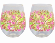 Lilly Pulitzer Jungle Tumble Acrylic Stemless Wine Glasses - SET OF 2