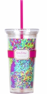 Lilly Pulitzer Lilly's Lagoon Drink Tumbler with Straw