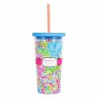 Lilly Pulitzer Lovers Coral Drink Tumbler with Straw