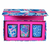 Lilly Pulitzer Ocean Jewels Votive Candles Boxed Set of 3