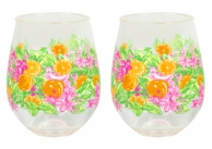 Lilly Pulitzer Peelin Out Acrylic Stemless Wine Glasses - SET OF 2