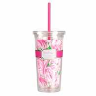 Lilly Pulitzer Pink Colony Print Drink Tumbler with Straw
