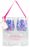 Lilly Pulitzer She She Shells Acrylic Wine Glasses