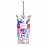 Lilly Pulitzer She She Shells Print Drink Tumbler with Straw
