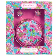 Lilly Pulitzer Trippin and Sippin Earbuds and Pouch