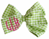 Lime Gingham Monogrammed Hair Bow / Cheer Bow