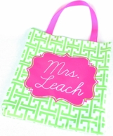 Lime Greek Key Personalized Everyday Tote