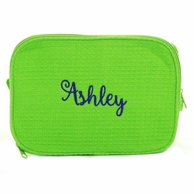 Lime Green Monogrammed Waffle Weave Cosmetic Bag