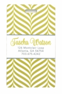 Lime Herringbone Personalized Luggage Tags - SET OF 2