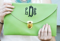 Lime Monogrammed Leather Envelope Clutch Purse / Chain Purse