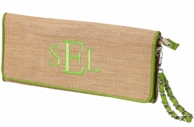 Lime Monogrammed Straw Clutch Handbag