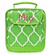 Lime Quatrafoil Monogrammed Lunch Tote
