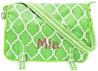 Lime Quatrafoil Monogrammed School Messenger Bag