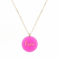 Love Pink Acrylic Necklace