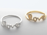 Love Ring with CZ Stones