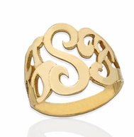 Lucky Signet Cut 14kt Gold Monogram Ring