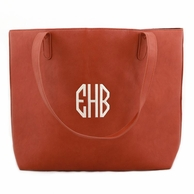 Luxe Camel Monogrammed Large Tote