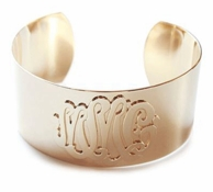 Luxe Castille Monogram Cuff Bracelet - GOLD OR SILVER