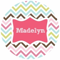 Madelyn Chevron Personalized Kids Plate