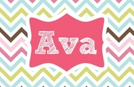 Madelyn Personalized Kids Chevron Placemat