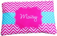 Maisy Personalized Pink Chevron Pencil Case