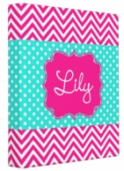 Maisy Pink Chevron Personalized 3 Ring Binder