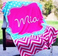 Maisy Pink Chevron Personalized Beach Towel