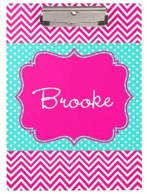 Maisy Pink Chevron Personalized Clipboard
