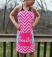 Maisy Pink Chevron Personalized Girls Spa Wrap