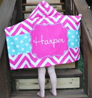 Maisy Pink Chevron Personalized Hooded Bath Towel