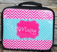 Maisy Pink Chevron Personalized Lunch Box