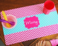 Maisy Pink Chevron Personalized Placemat