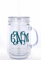 Mason Jar Monogrammed Tumbler with Straw