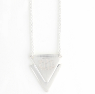 Matte Silver Triangle Monogram Chevron Charm Necklace
