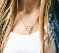 Matte Triangle Monogrammed Charm Necklace