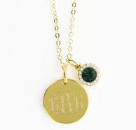 May Birthstone Goldtone Monogrammed Necklace - EMERALD