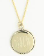 Medium Braided Edge Round Gold Monogram Necklace