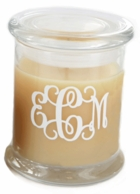 Medium Glass Monogrammed Candle with Lid