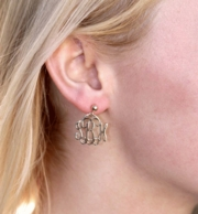 Medium Goldtone Monogram Drop Post Earrings