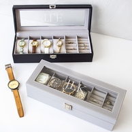 Men's Watch & Jewelry Case with Personalized Lid
